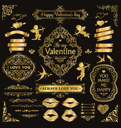 gold love vintage decorative design elements set vector image