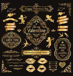 Gold love vintage decorative design elements set vector