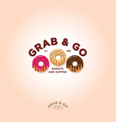 Grab and go donuts logo bakery cafe emblem vector