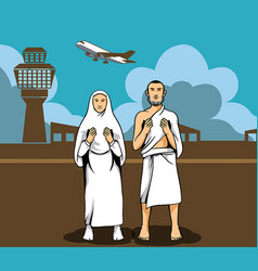 Hajj pilgrim praying and the airport background vector