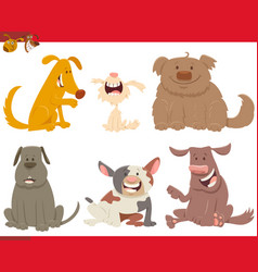 happy dogs or puppies cartoon characters vector image