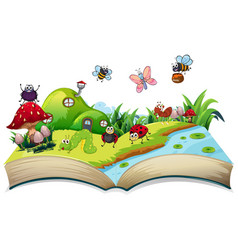 Happy insect on open book vector
