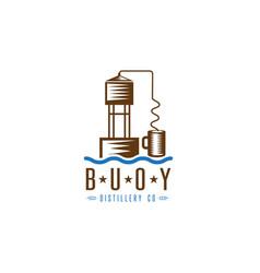 Hooch still buoy distillery concept design vector