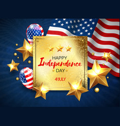 independance day greeting banner with golden stars vector image