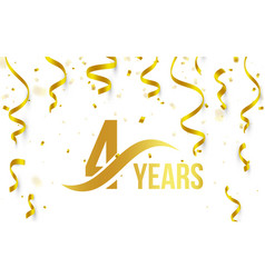 Isolated golden color number 4 with word years vector
