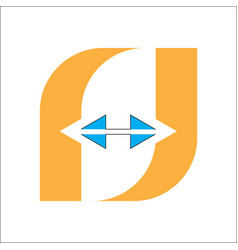 letter f logo in and isolated with a white vector image