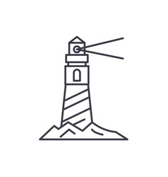 lighthouse on the shore line icon concept vector image