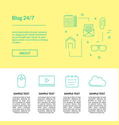 line blog icons template vector image