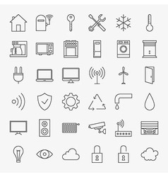 Line Smart Home Icons Big Set vector