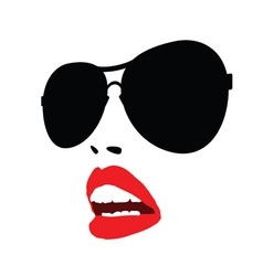 lip red with sunglasses face vector image