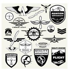 Monochrome mega set theme aviation vector