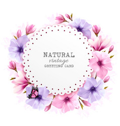 Natural vintage greeting card with a cdolorful vector