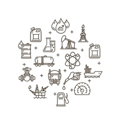 Oil Industry Round Design Template Outline Icon vector image