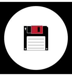 Old floppy disc for computer simple isolated icon vector
