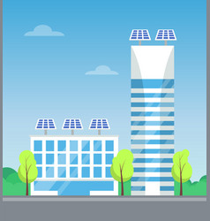 pair white buildings with lot blue windows vector image
