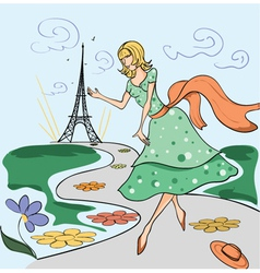 paris doodles with lady vector image
