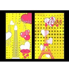 Paris poster with heart Romantic collage vector image