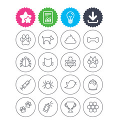 Pets and insect icon dog cat paw with clutches vector