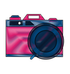 photographic camera vintage pop art colors vector image