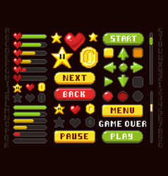 Pixel game buttons navigation and notation vector