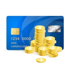 Plastic card and coins vector