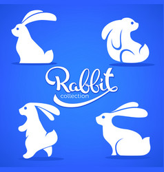 rabbit collection silhouette small cute vector image