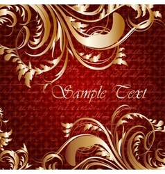 Retro card with golden leaves and place for text vector