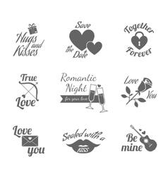Romantic labels icons set vector image