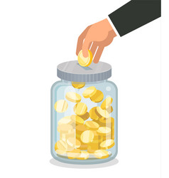 saving flat money jar with hand hoding coin vector image