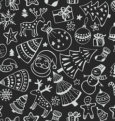 seamless pattern hand drawn sketchy christmas vector image