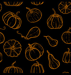 seamless pattern with hand drawn black and orange vector image