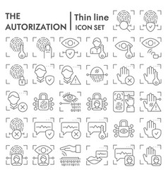 Security authorization thin line icon set vector