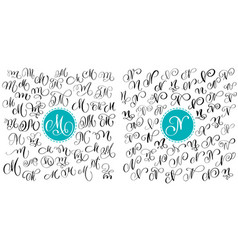 set letter m n hand drawn flourish vector image