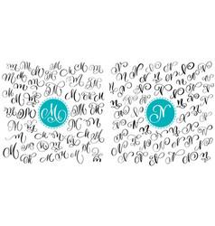 Set letter m n hand drawn flourish vector