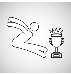 Silhouette person long jump winner sport vector