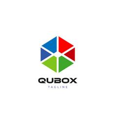 Simple clean cube logo design template vector