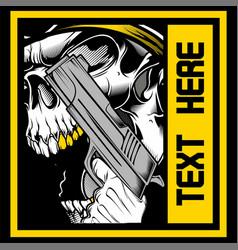 Skull roars holding a gun vector