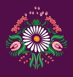 Slavic folk traditional vegetable pattern rose vector