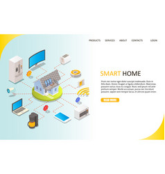 Smart home landing page website template vector