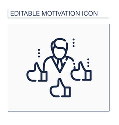 Social recognition line icon vector