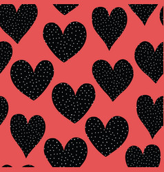 spotted doodle hearts black and white on red vector image