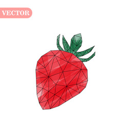 Strawberry in low poly vector