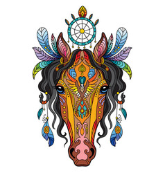 tangle tribal horse colorful isolated vector image