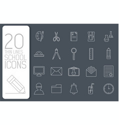 thin line office set icons school concept vector image
