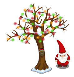 Tree decorated with garland and santa claus vector