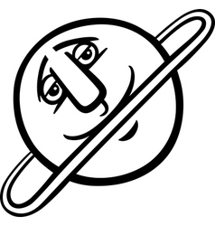 uranus planet cartoon coloring page vector image