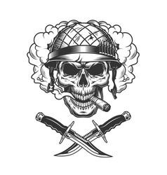 Vintage soldier skull in smoke cloud vector