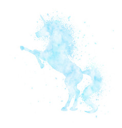 Watercolor unicorn silhouette blue painting vector