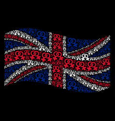 Waving great britain flag collage of lesbi symbol vector