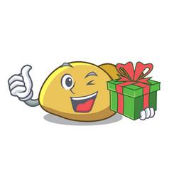 With gift mollusk shell mascot cartoon vector